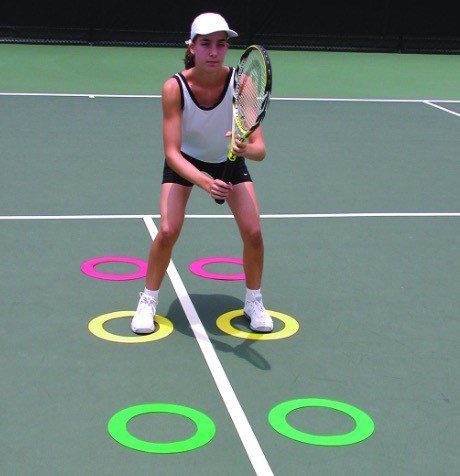 Donuts tennis training aid for footwork