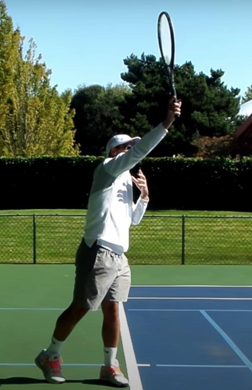 The contact point on the serve